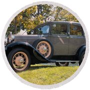 1931 Ford Sedan On Hill At Greenfield Village In Dearborn Michigan Round Beach Towel