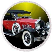 1931 Willys Knight Plaid Side Round Beach Towel