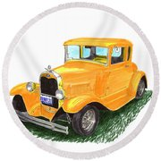 1931 Yellow Ford Coupe Round Beach Towel by Jack Pumphrey