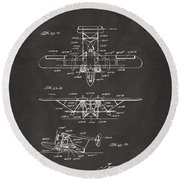 1932 Amphibian Aircraft Patent Gray Round Beach Towel