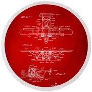 1932 Amphibian Aircraft Patent Red Round Beach Towel