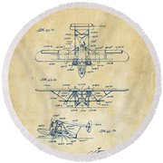 1932 Amphibian Aircraft Patent Vintage Round Beach Towel