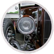 1932 Ford Roadster Head Lamp View Round Beach Towel