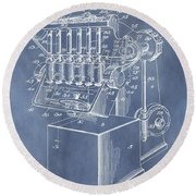 1932 Machine Patent Round Beach Towel