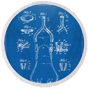 1932 Medical Stethoscope Patent Artwork - Blueprint Round Beach Towel