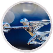 1932 Packard 12 Convertible Victoria Hood Ornament -0251c Round Beach Towel