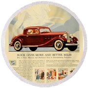 1933 - Buick Coupe Advertisement - Color Round Beach Towel