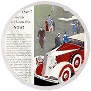 1933 - Hupmobile Sedan Automobile Advertisement - Color Round Beach Towel