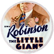 1933 - The Little Giant - Warner Brothers Movie Poster - Edward G Robinson - Color Round Beach Towel