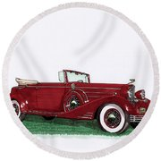 1933 Cadillac Convert Victoria Round Beach Towel by Jack Pumphrey