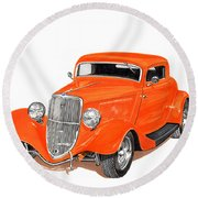 1933 Ford Three Window Coupe Round Beach Towel