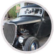 1933 Ford Two Door Sedan Front And Side View Round Beach Towel