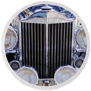 1933 Packard 12 Convertible Coupe Grille Round Beach Towel