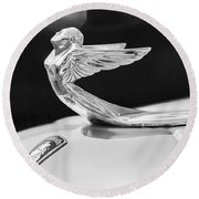 1933 Plymouth Hood Ornament -0121bw Round Beach Towel