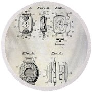 1933 Watch Case Patent Drawing  Round Beach Towel