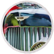 1934 Aston Martin Mark II Short Chassis 2-4 Seater Grille Emblem Round Beach Towel