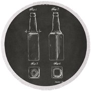 1934 Beer Bottle Patent Artwork - Gray Round Beach Towel