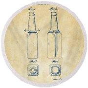 1934 Beer Bottle Patent Artwork - Vintage Round Beach Towel