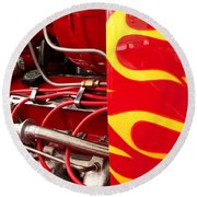 Hot Rod Art Work And Engine Round Beach Towel