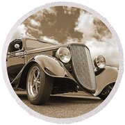 1934 Ford Coupe In Sepia Round Beach Towel