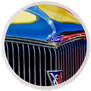 1934 Ford Deluxe Coupe Grille Emblems Round Beach Towel