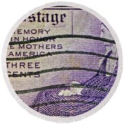 1934 Mothers Of America Three-cent Stamp Round Beach Towel