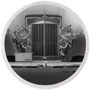 1934 Packard Black And White Round Beach Towel