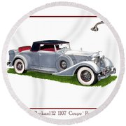 1934 Packard Twelve 1107 Coupe Round Beach Towel