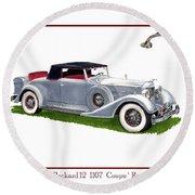 1934 Packard Twelve 1107 Coupe Round Beach Towel