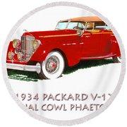 1934 Packard V-12 Dual Cowl Phaeton Round Beach Towel