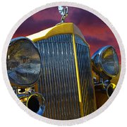 1934 Packard With Posterized Edge Texture Round Beach Towel