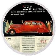 1935 - Nash Aeroform Automobile Advertisement - Color Round Beach Towel