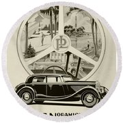 1935 - Panhard Panoramique French Automobile Advertisement Round Beach Towel