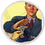1935 - Soviet Union Anti Alcohol Propaganda Poster - Color Round Beach Towel
