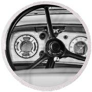 1935 Auburn 851 Supercharged Boattail Speedster Steering Wheel -0862bw Round Beach Towel