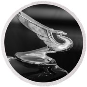 1935 Chevrolet Sedan Hood Ornament -479bw Round Beach Towel