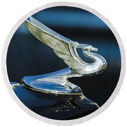 1935 Chevrolet Sedan Hood Ornament Round Beach Towel by Jill Reger