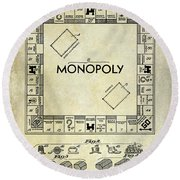 1935 Monopoly Patent Drawing Round Beach Towel