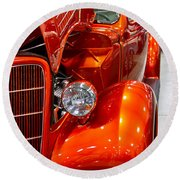 1935 Orange Ford-front View Round Beach Towel