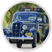 1935 Plymouth Taxi Cab Round Beach Towel