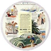 1936 - De Soto Airflow IIi Automobile Advertisement - Color Round Beach Towel