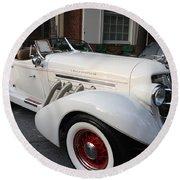 1936 Auburn Super Charger Round Beach Towel