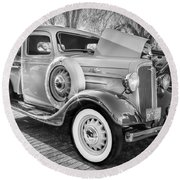 1936 Chevrolet Pick Up Truck Painted Bw   Round Beach Towel
