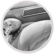 1936 Ford Cabriolet Bw Round Beach Towel