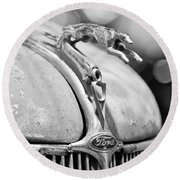 1936 Ford Cabriolet Hood Ornament - Emblem Round Beach Towel