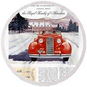 1936 - Lasalle Convertible Automobile Advertisement - Color Round Beach Towel