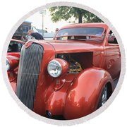 1936 Plymouth Two Door Sedan Front And Side View Round Beach Towel