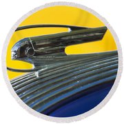 1936 Pontiac Hood Ornament 2 Round Beach Towel