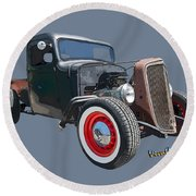 1936 Rat Rod Chevy Pickup Round Beach Towel