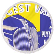 1937 - Plymouth Automobile Advertisement - Color Round Beach Towel